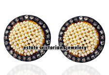 Victorian Vintage 1.15Cts Rose cut Diamond Pearl Silver Studs Earring Jewelry