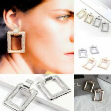 Chunky Gold Rose Silver Square Statement Drop Ear Earrings boho Style Statement