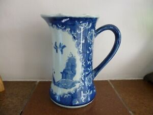 """Vintage Blue and White Chinese Style Large Jug.7.75"""""""