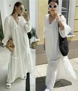 H&M Trend Conscious SS2021 White Cream Oversized Kaftan Dress sz XS S M L XL XXL