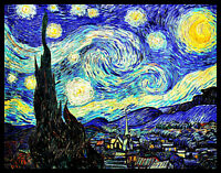 "Starry Night Van Gogh Magnetic Poster Canvas Print FRIDGE MAGNET 12x15"" Large"