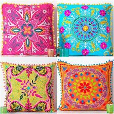 "Vintage Embroidered Pillow Cases Suzani Cushion Cover Square 20"" Handmade Pillow"