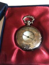 Vintage Quartz Silver Tone Engraved Half Hunter Boxed Pocket Watch