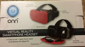 "Onn Virtual Reality Smartphone Headset - Red - Use Screens Up To 6"" - New"