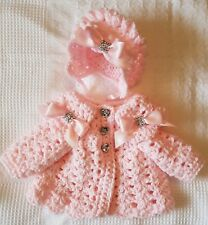 Romany Hand Crochet Bonnet And Cardigan Babies 0-3 With bling bows