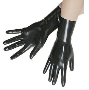 100% Latex Black Over Wirst Gloves Rubber Compression Molded  Mitten S-XL 0.4mm