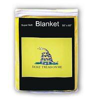 "DON'T TREAD ON ME Gadsden Flag Fleece Blanket 50""x60"" Soft Travel Throw Cover"