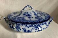 "Antique Grindley ""Marie"" flow blue vegetable tureen. 11"" long ."