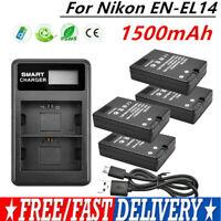 EN-EL14 Battery Or Charger for Nikon D3100 D3200 D3300 D5100 D5200 D5300 GM
