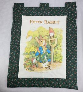 Peter Rabbit Nursery Wall Hanging Green Floral Fabric Frederick Warne vtg 32x 25