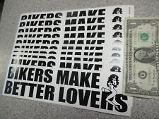 10 Qty BIKERS MAKE BETTER LOVERS Motorcycle bumper stickers wholesale novelty