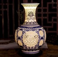 Hollow Ceramic Vase Eggshell Vintage Porcelain Chinese Antique Reproduction