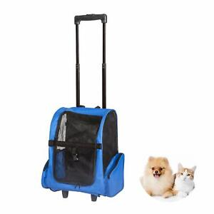Pet Carrier Dog Cat Travel Tote Rolling Backpack Airline Crate Luggage Bag Blue