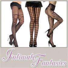 Ladies Sexy Black Pattern Tights Pothole Floral Size 8 10 12 14 16 Pantyhose