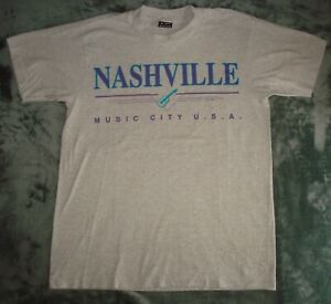 VTG 80s NASHVILLE MUSIC CITY T SHIRT MEDIUM GRAY 90s COUNTRY ROCK SINGLE STITCH