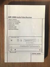 Harman Kardon AVR 2000 AVR-2000 Owners Manual Handbuch