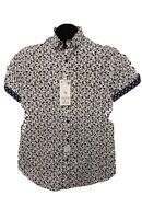 Denim And Flower Men's Slim Fit Button Down Short Sleeve Cotton Shirt.XL.XXL NWT