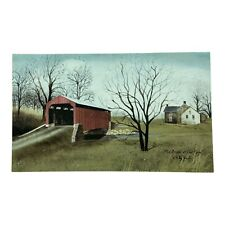 """Billy Jacobs """"Red Bridge at Pool Forge"""" 10""""x6"""" farmhouse wall picture"""