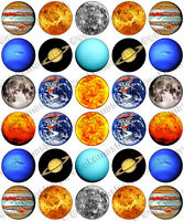 30 x Solar System Sun & Planets Party Edible Rice Wafer Paper Cupcake Toppers