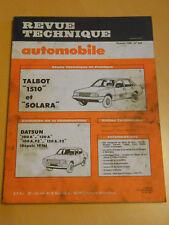 RTA revue technique n° 404 TALBOT 1510 et SOLARA
