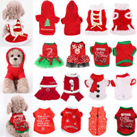 Pet Dog Puppy Santa Shirt Christmas Party Dress Clothes Warm Jacket Coat Apparel