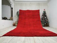 "Moroccan Handmade Cute Rug 7'2"" x 12'8"" - Berber Wool Red Area Rug Shag carpet"