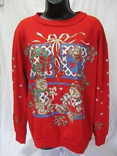 Vintage CHRISTMAS SWEATER SWEATSHIRT Teddy Bear Glitter Red Size XL Extra Large