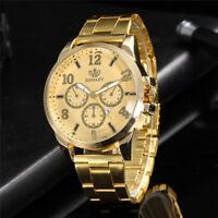 Men Business Black/Gold Watch Round Fake Three Eyes Quartz Wristwatch