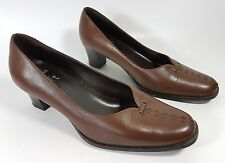 Clarks cushion soft brown leather mid heel shoes uk 4 eu 37