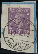Uk Gb Egypt 1943 War Time Postage Prepaid 10 Ju 53 Full Cancel On Piece Rare