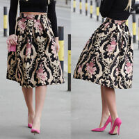 Fashion Retro Women Floral Print High Waist Dress Skater Long Skirt Dress