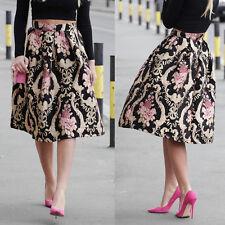 Fashion Retro Women Floral Print High Waist Dress Skater Long Skirt Dress