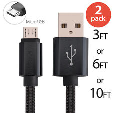 2x Micro USB Fast Charger Data Sync Cable Braided Cord for Samsung Android LG