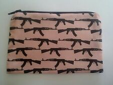 Handmade Zippy Cotton Fabric Coin Purse (Fully Lined) - Rifle Guns on Pink