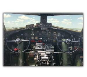 "War B-17 Flying Fortress Cockpit US Air Army Photo WW2 Glossy ""4 x 6"" inch D"