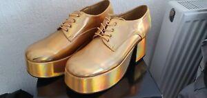 Mens pimp / disco gold platform Shoes Size 11