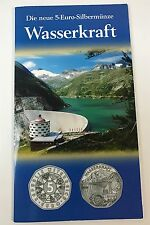5 Euro Silbermünze Österreich 2003 Wasserkraft handgehoben im Blister #2_1
