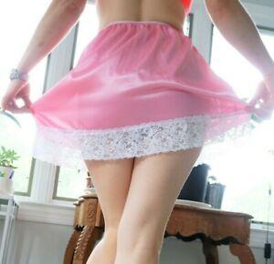"Silky Soft satin bubblegum Pink LACY short slip mini sissy dolly skirt OS 26-40"""