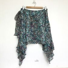 Womens Portmans Skirt Designer Size 10 Silk Lined Blue Green Wrap Style Tie