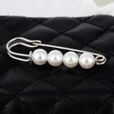 Wedding Party Bridal Women Faux Pearls Brooch Big Scarf Safety Lapel Pin