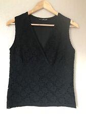 Willi Smith Sleeveless Crochet Black Top Size M