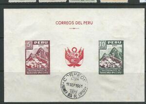 PERU 1961 MACHU PICCHU special sheet of 2 with FDC cancel *read desc*