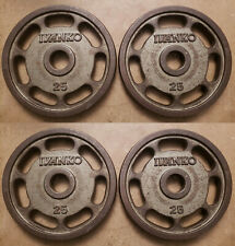 FOUR Ivanko 25lb Olympic E-Z easy Lift Weights slotted grip OMEZS 100lbs total