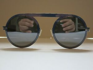 Mykita STUDIO 6.1 Shiny Silver Blue Silver Flash Glasses Eyewear Sunglasses NEW