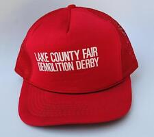 LAKE COUNTY FAIR DEMOLITION DERBY M/L Adjustable Red Trucker Baseball Cap Hat