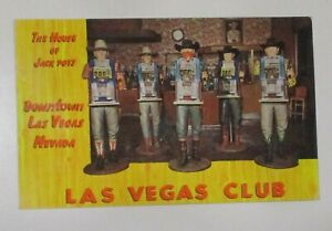 "POST CARD 1958 ""ADVERTISING LAS VEGAS CLUB DOWNTOWN "" w/SLOGAN CANCEL See Pic"