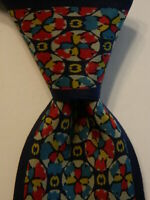 MILA SCHON Men's 100% Silk Necktie ITALY Luxury Geometric Blue/Red/Yellow EUC