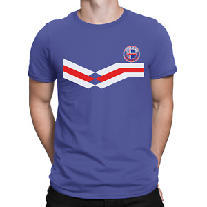 ICELAND World Cup Mens ORGANIC Cotton T-Shirt Football New Style Retro Strip Eco