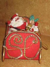 Vintage Handmade Santa Claus Sleigh Christmas Holiday Decoration Felt