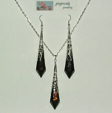 BLACK FACETED VICTORIAN STYLE SILVER PLATED FILIGREE PENDANT EARRINGS SET LG
